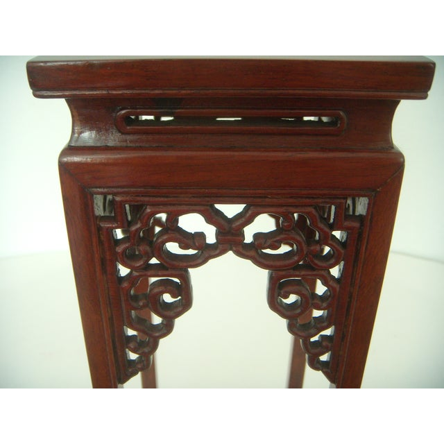 Ornate Vintage Chinese Rosewood Display Stand - Image 4 of 7