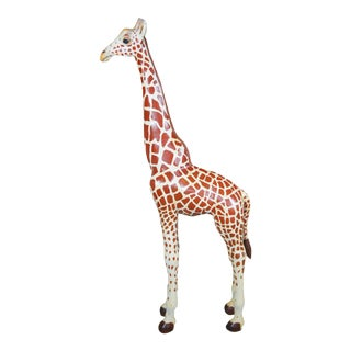 Vintage Hand Carved Pine Giraffe Display Statue For Sale