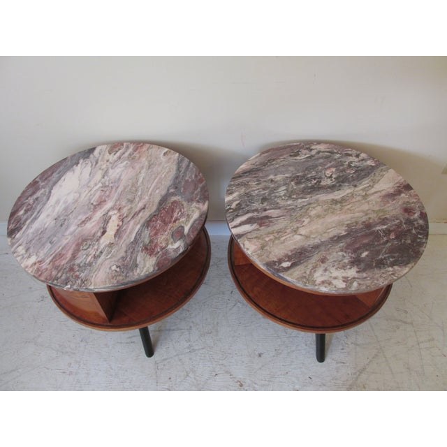 Round Side Tables with Marble Tops - A Pair - Image 4 of 8
