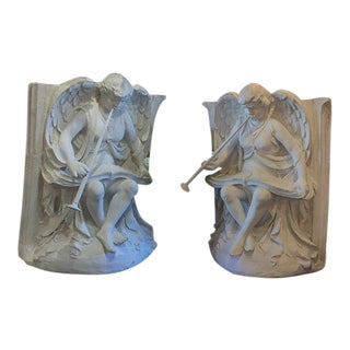Pair of English Architectural Plaster Reliefs/ From England Music Hall For Sale