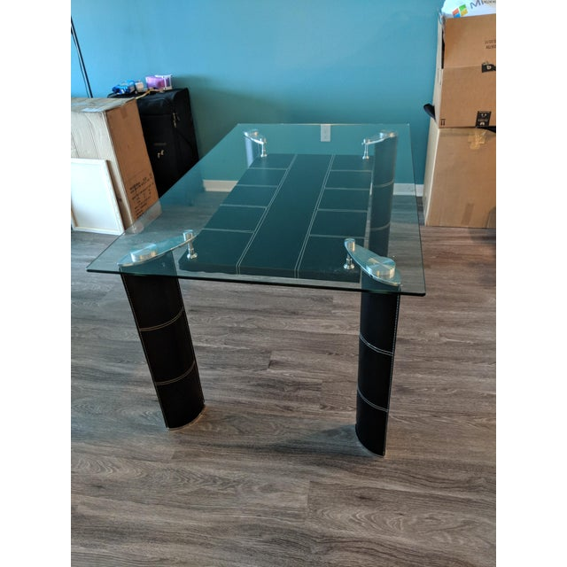 Contemporary Modern Glass Top Dining Table For Sale - Image 3 of 7