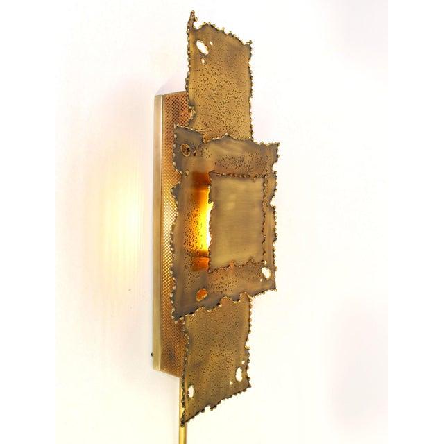 Brutalist Brass Brutalist Torch Cut Sconces - a Pair For Sale - Image 3 of 8