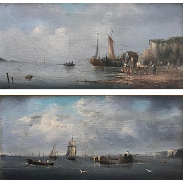 Impressionism Late 19th Century Oil Seascape Paintings - a Pair For Sale - Image 3 of 9