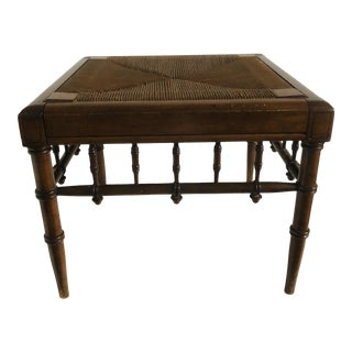 Vintage Mid Century Faux Bamboo and Rush Footstool For Sale