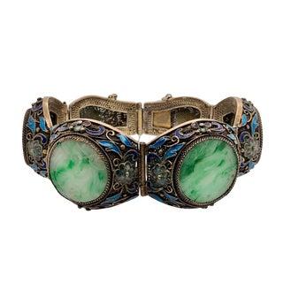 Vintage Chinese Silver Jade Enamel Link Bracelet For Sale
