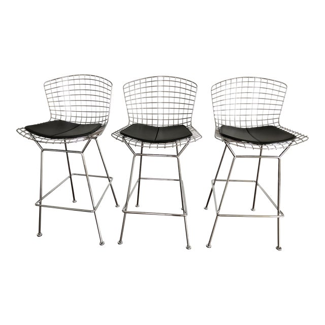 Bertoia Counter Stools With Seat Pads - Set of 3 - Image 1 of 11