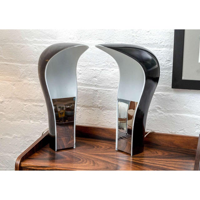 """Very clean all original pair of Pelota lamps. The Pelota table lamp is approximately 12"""" tall by 4"""" by 9"""" and takes a bulb..."""