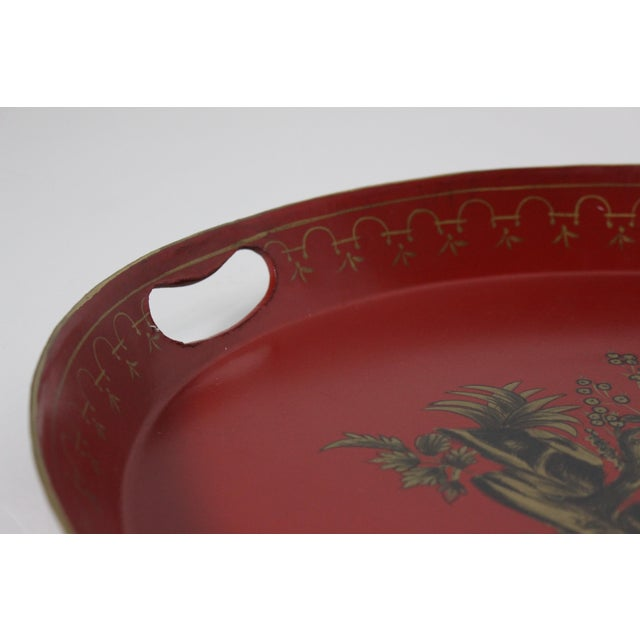 Mid 20th Century Large 20th Century English Red & Gold Lacquered Oval Chinoiserie Tole Tray For Sale - Image 5 of 7