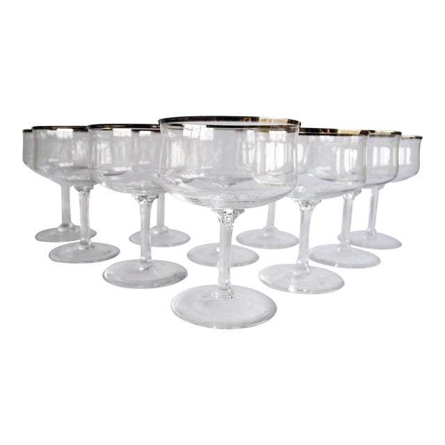 Silver Rim Champagne Coupes - Set of 10 - Image 1 of 4