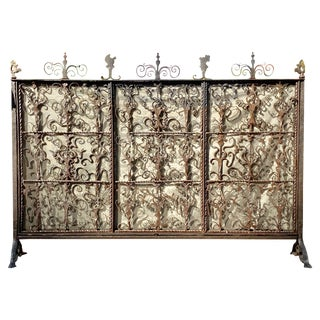 Fire-Place Screen, Wrought Iron For Sale