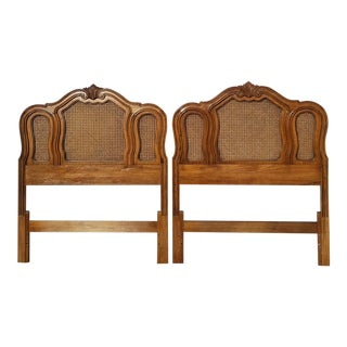 Pair of Vintage French Country Thomasville Brown Cane Twin Headboards For Sale