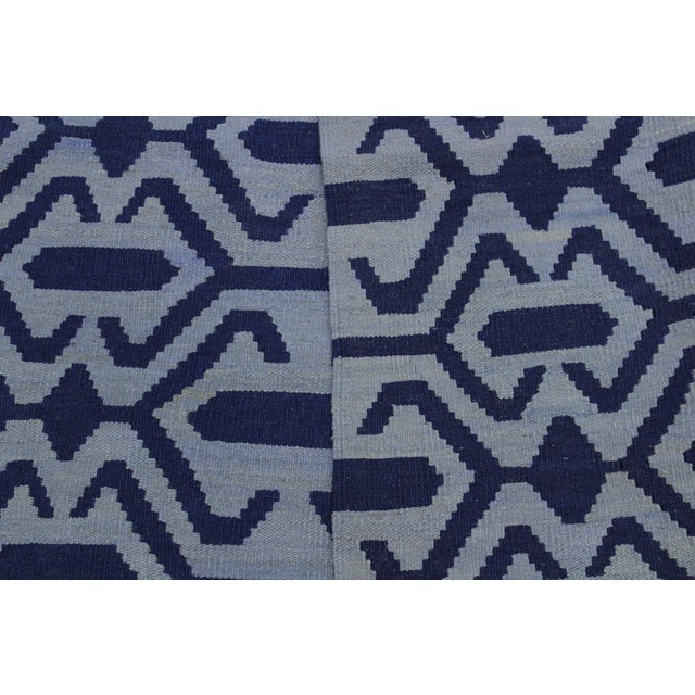 Textile Contemporary Kilim Sager Blue Hand-Woven Wool Rug- 4′4″ × 5′9″ For Sale - Image 7 of 8