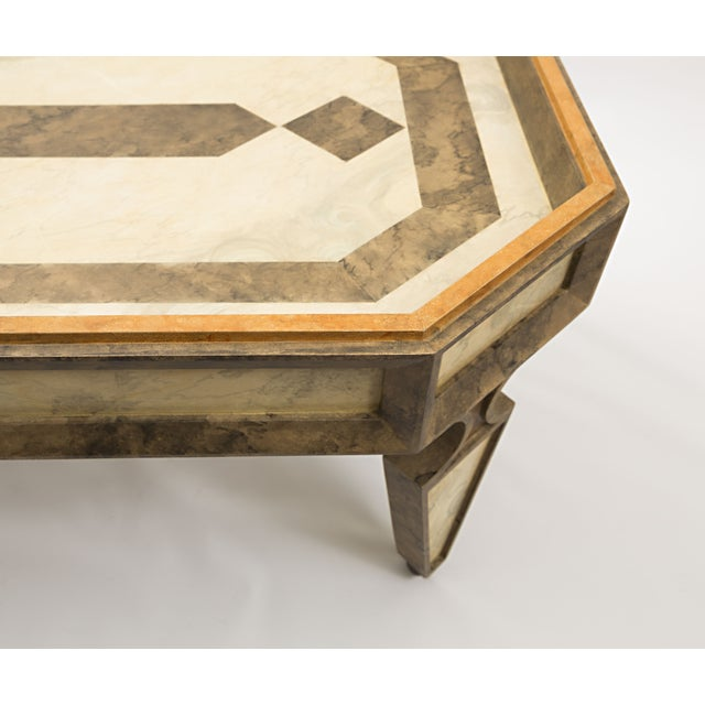 Custom Made Coffee Table Faux Painted in Cream and Gold Colors For Sale - Image 4 of 9