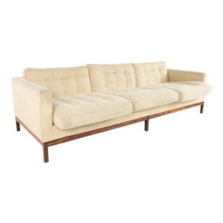 Vintage Mid Century Early Florence Knoll Rosewood Club Sofa For Sale