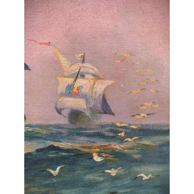 Blue Tall Ship Oil Painting Signed C. Freitas For Sale - Image 8 of 12