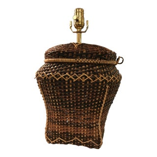 Vintage Rattan Table Lamp For Sale