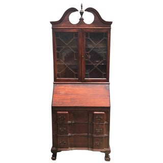 Antique Block Front Governor Winthrop Mahogany Secretary Desk W/ Bookcase For Sale