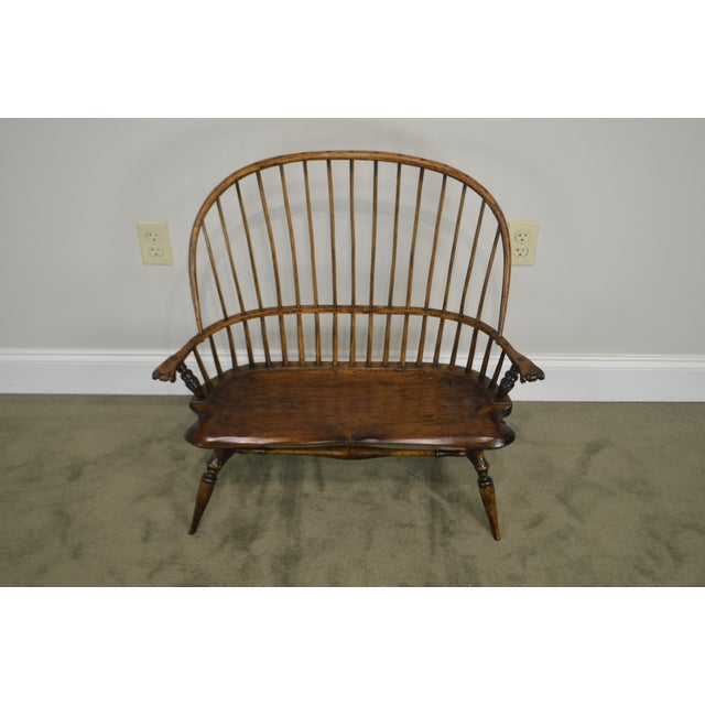 Windsor Style Hand Crafted Miniature Childs Settee by K. Malone (18th Century Reproduction) For Sale - Image 4 of 12