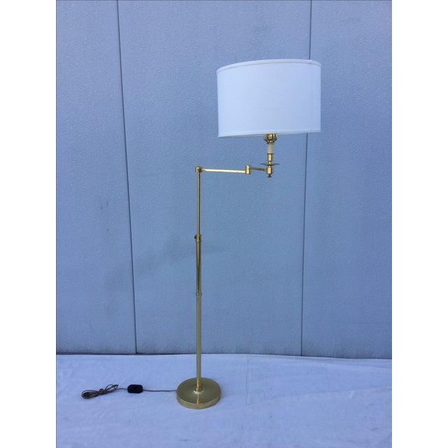 Vintage 1970s English Modern Brass Floor Lamp - Image 2 of 11
