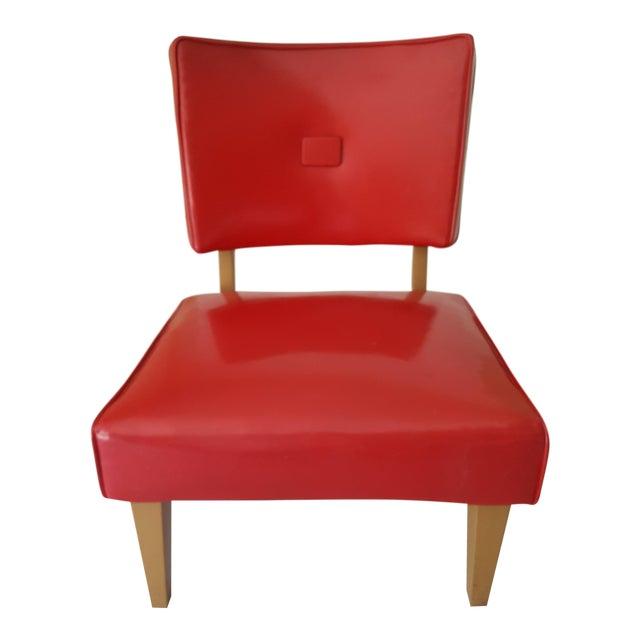 1950s Vintage Red Vinyl Slipper Chair Chairish