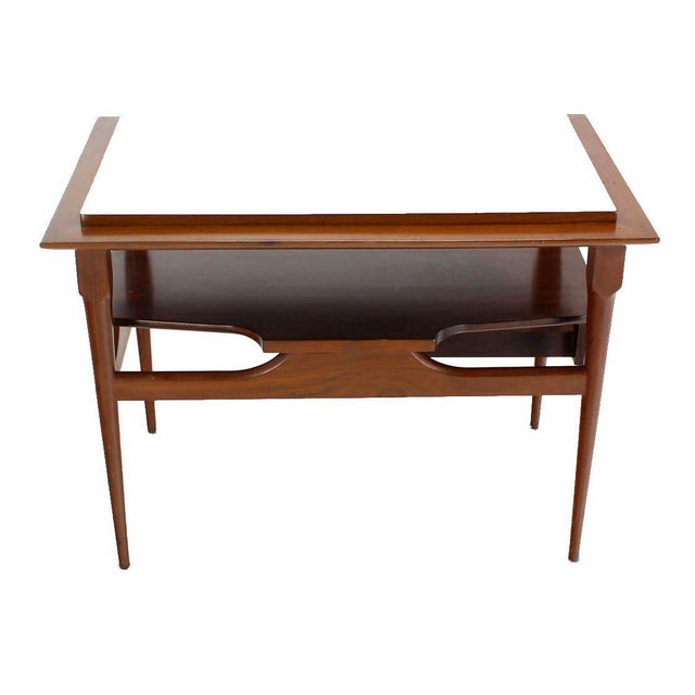 Brown Pair of Mid Century Modern Walnut One Drawer End Tables or Night Stands For Sale - Image 8 of 9