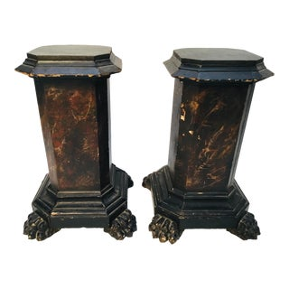 18th Century Italian Marbleized and Carved Pedestals- a Pair For Sale