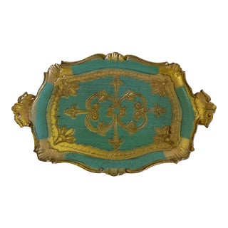 1960s Small Florentine Tray - Aqua Blue & Gold Italian Vanity Tray For Sale