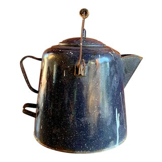 1940s Camping Enamelware Coffee Pot, Oversized Family Size For Sale