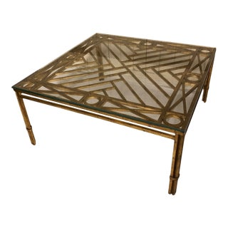 Classic Geometric Gilded Glass-Top Coffee Table For Sale
