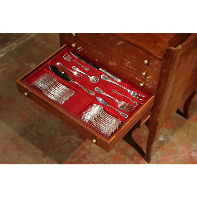 Metal Louis XV Walnut Chest With Stamped Christofle Silver Plated Flatware - Set of 181 Pieces For Sale - Image 7 of 13