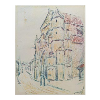 1959 Lithograph of The Church at Moret by Alfred Sisley