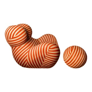 Stripe Jersey Serie Up 2000 Armchair and Ottoman by Gaetano Pesce, B&B Italia