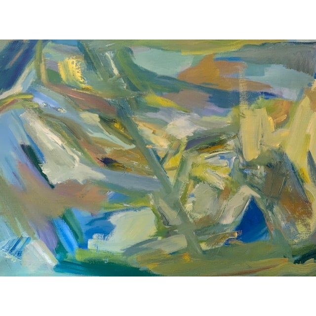 """Eye Catching Mid-Century Modern Abstract Oil Painting on Canvas """"Venice"""" 1964. Colorful. Measures: 28"""" Wide x 18"""" Tall x..."""