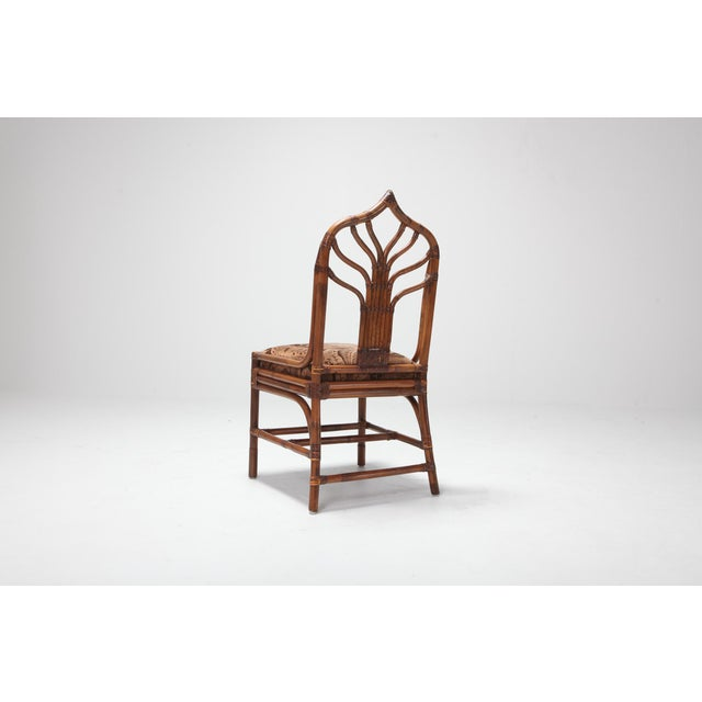 1970s Regency Set of Italian Bamboo Dining Chairs With Floral Cushions For Sale - Image 5 of 13