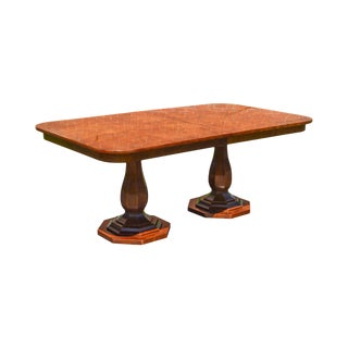 Henredon Charles X Collection Burl Wood Double Pedestal Dining Table