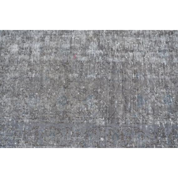 Turkish Gray Overdyed Antique Handwoven Oushak Carpet - 5′4″ × 8′8″ - Image 2 of 5