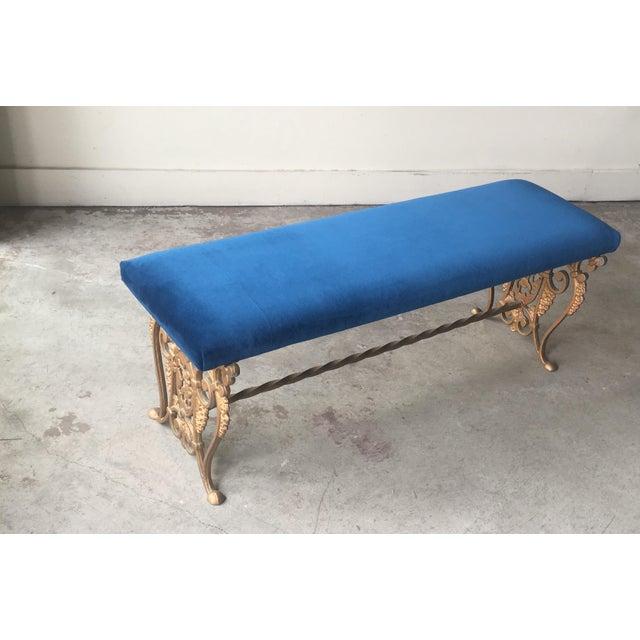 Art Nouveau Blue Velvet Gilded Cast Iron Bench For Sale In San Francisco - Image 6 of 13