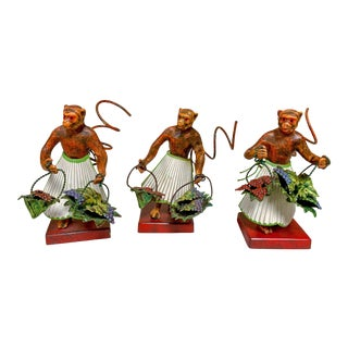 Set of 3 Cold Painted Bronze Chinoiserie Monkey Bud Vases For Sale