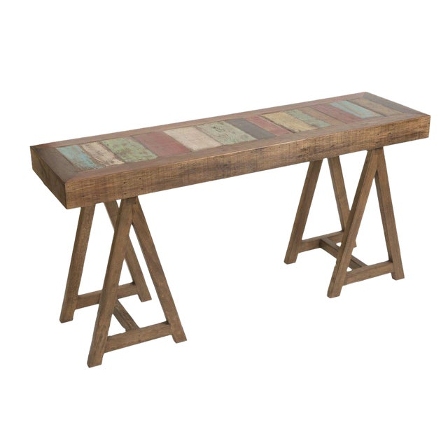 Reclaimed Peroba Wood Handmade Eco-Friendly Console Table For Sale
