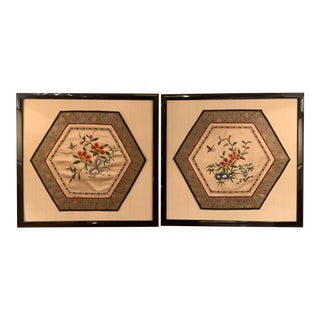 Vintage Chinese Embroidery Panels, Framed - a Pair For Sale