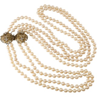 Stanley Hagler Necklace Faux Hand Knotted Pearls Rhinestones Convertible Vintage For Sale