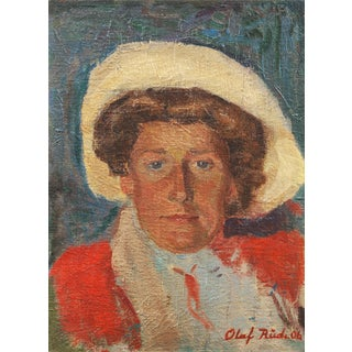 Portrait of a Woman by Olaf Rude, 1906 For Sale