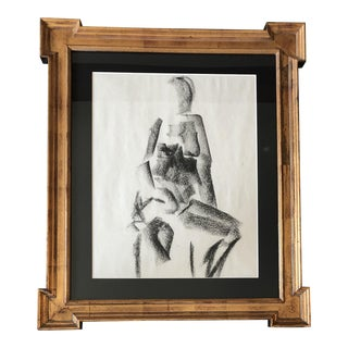 Original Mid Century Modernist Female Nude Charcoal Study For Sale
