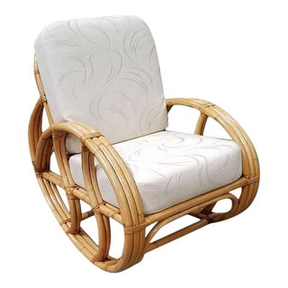 Restored Ritts Rattan Rocking Chair With White Cushions For Sale