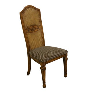 Stanley Furniture French Country Fruitwood Cane Back Dining / Side Chair For Sale