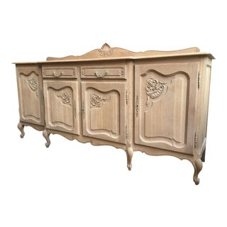 Antique French Carved Oak Louis XV Sideboard Buffet Bleached Finish Breakfront For Sale