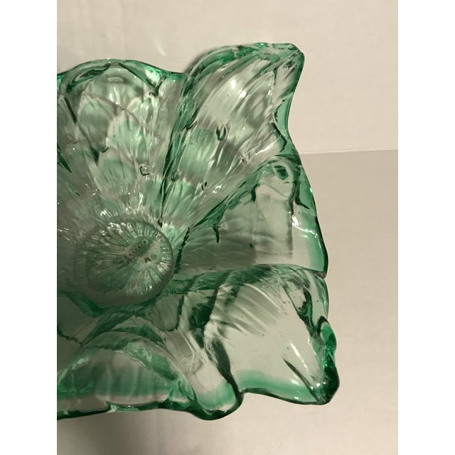 1970s Vintage Mid-Century Modern Murano Italy Hand Blown Green Bowl For Sale - Image 5 of 13