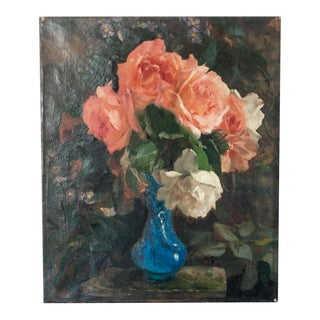 Early 20th Century French Peach Rose Still Life Oil Painting For Sale