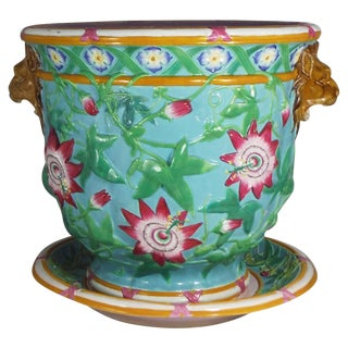 19th Century Minton Majolica Passion Flower Turquoise Jardiniere For Sale