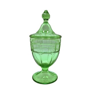 Depression Glass Footed & Lidded Candy Jar For Sale